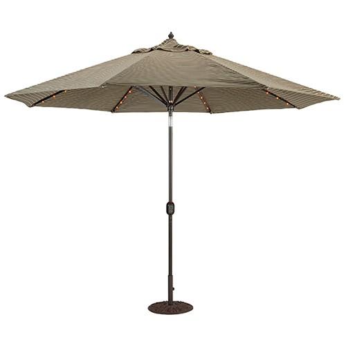 11' Lighted Patio Umbrella Automatic Til