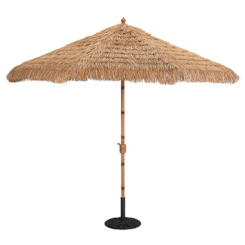 9' Bamboo Auto Tilt Alumim Patio Umbrella w/ Thatch Cover